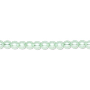 bead, celestial crystal, glass pearl, light green, 4mm round. sold per pkg of (2) 16-inch strands.