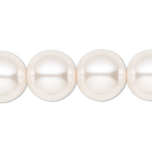 bead, celestial crystal, glass pearl, light pink, 16mm round. sold per 16-inch strand.