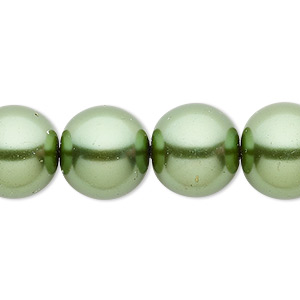 bead, celestial crystal, glass pearl, medium green, 14mm round. sold per 16-inch strand.