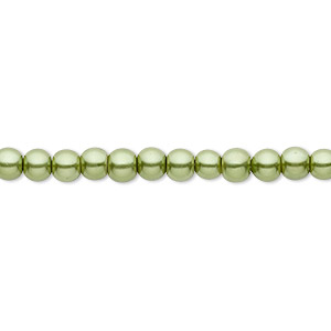 bead, celestial crystal, glass pearl, medium green, 4mm round. sold per pkg of (2) 16-inch strands.
