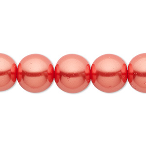 bead, celestial crystal, glass pearl, orange-red, 12mm round. sold per 16-inch strand.