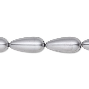 bead, celestial crystal, glass pearl, pewter, 15x7mm-18x8mm teardrop. sold per 16-inch strand.