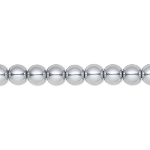 bead, celestial crystal, glass pearl, silver, 6mm round. sold per pkg of (2) 16-inch strands.