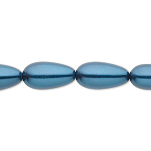 bead, celestial crystal, glass pearl, teal, 15x7mm-18x8mm teardrop. sold per 16-inch strand.