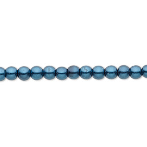 bead, celestial crystal, glass pearl, teal, 4mm round. sold per pkg of (2) 16-inch strands.