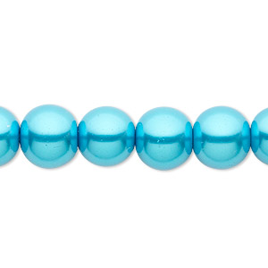 bead, celestial crystal, glass pearl, turquoise blue, 10mm round. sold per pkg of (2) 16-inch strands.
