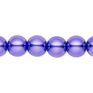 bead, celestial crystal, glass pearl, violet, 10mm round. sold per pkg of (2) 16-inch strands.