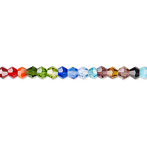 bead, celestial crystal, opaque / translucent / transparent multicolored, 4mm faceted bicone. sold per 16-inch strand.