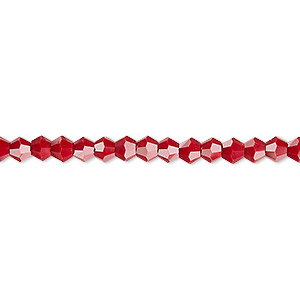 bead, celestial crystal, opaque red, 4mm faceted bicone. sold per 16-inch strand.
