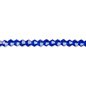 bead, celestial crystal, translucent cobalt, 4mm faceted bicone. sold per 16-inch strand.