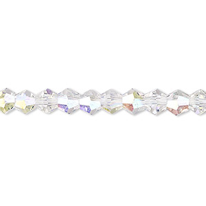 bead, celestial crystal, transparent clear ab, 6mm faceted bicone. sold per 16-inch strand.