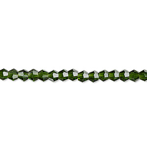 bead, celestial crystal, transparent emerald green, 4mm faceted bicone. sold per 16-inch strand.