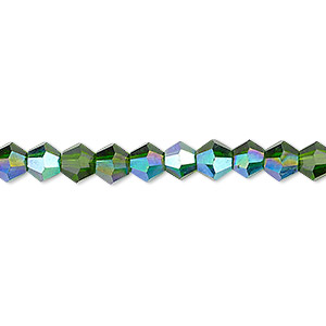 bead, celestial crystal, transparent emerald green ab, 6mm faceted bicone. sold per 16-inch strand.