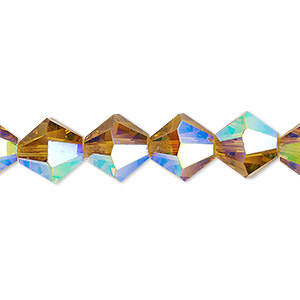 bead, celestial crystal, transparent gold ab, 10mm faceted bicone. sold per 8-inch strand, approximately 20 beads.