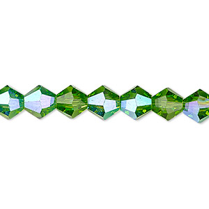 bead, celestial crystal, transparent green ab, 8mm faceted bicone. sold per 16-inch strand.