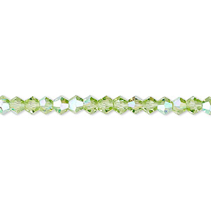bead, celestial crystal, transparent lime green ab, 4mm faceted bicone. sold per 16-inch strand.
