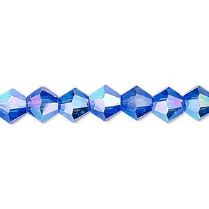 bead, celestial crystal, transparent medium blue ab, 8mm faceted bicone. sold per 16-inch strand.