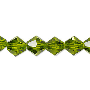 bead, celestial crystal, transparent peridot green, 10mm faceted bicone. sold per 8-inch strand, approximately 20 beads.
