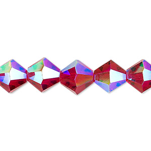 bead, celestial crystal, transparent red ab, 10mm faceted bicone. sold per 8-inch strand, approximately 20 beads.