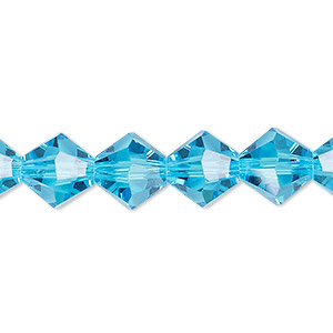 bead, celestial crystal, transparent turquoise blue, 10mm faceted bicone. sold per 8-inch strand, approximately 20 beads.