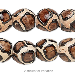 bead, ceraclay, brown / black / tan, 12-15mm round with giraffe print design. sold per 16-inch strand.
