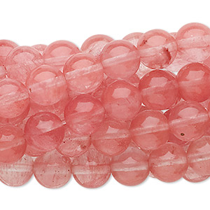 bead, cherry quartz glass, 8mm round, c grade. sold per pkg of (10) 16-inch strands.