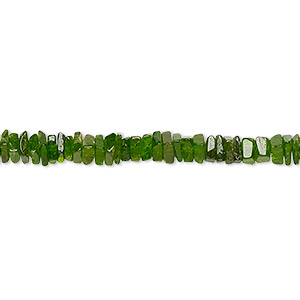 bead, chrome diopside (natural), 3x1mm-4x2mm hand-cut square rondelle, b grade, mohs hardness 5-1/2 to 6. sold per 8-inch strand, approximately 95-150 beads.
