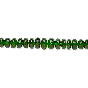 bead, chrome diopside (natural), 4x2mm-6x3mm graduated hand-cut rondelle with 0.4-1.4mm hole, b+ grade, mohs hardness 5-1/2 to 6. sold per 8-inch strand, approximately 75-90 beads.