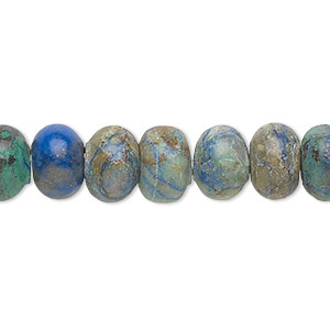 bead, chrysocolla (stabilized), 10x6.5mm rondelle, b grade, mohs hardness 2 to 4. sold per 16-inch strand.