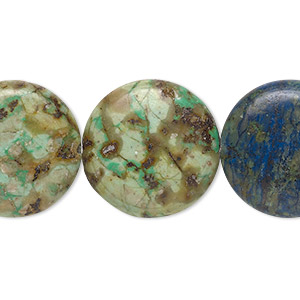 bead, chrysocolla (stabilized), 20mm flat round, b grade, mohs hardness 2 to 4. sold per 8-inch strand, approximately 10 beads.