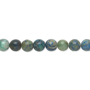 bead, chrysocolla (stabilized), 6mm round, b grade, mohs hardness 2 to 4. sold per 16-inch strand.
