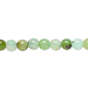bead, chrysoprase (natural), 6mm round, c grade, mohs hardness 6-1/2 to 7. sold per 8-inch strand, approximately 30 beads.