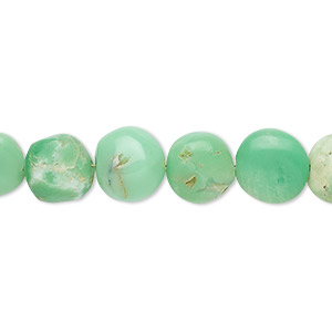bead, chrysoprase (natural), 9-10mm hand-cut puffed flat round, c grade, mohs hardness 6-1/2 to 7. sold per 7-inch strand.