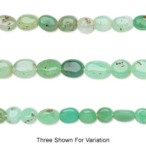 bead, chrysoprase (natural), shaded, 5x5mm-8x6mm hand-cut puffed oval, c grade, mohs hardness 6-1/2 to 7. sold per 14-inch strand.