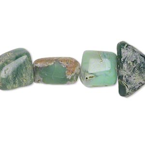 bead, chrysoprase (natural), small to medium hand-cut nugget, mohs hardness 6-1/2 to 7. sold per 7-inch strand.