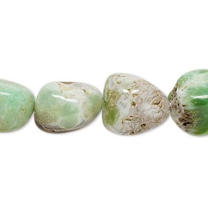 bead, chrysoprase (natural), small to medium hand-cut tumbled nugget, mohs hardness 6-1/2 to 7. sold per 14-inch strand.