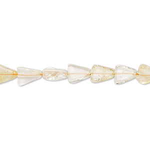 bead, citrine and quartz crystal (natural / dyed / heated), light, 6x6x5mm-7x7x6mm hand-cut flat triangle, c- grade, mohs hardness 7. sold per 13-inch strand.