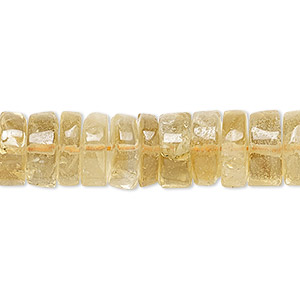 bead, citrine (dyed / heated), 10x3mm hand-cut heishi, c grade, mohs hardness 7. sold per 16-inch strand.