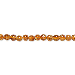 bead, citrine (dyed / heated), 4mm hand-cut round, c grade, mohs hardness 7. sold per 16-inch strand.