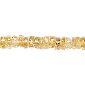 bead, citrine (dyed / heated), 7x2mm hand-cut heishi, c grade, mohs hardness 7. sold per 16-inch strand.