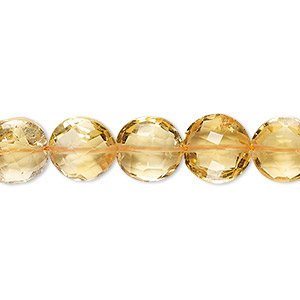 bead, citrine (heated), 7-10mm faceted puffed round, b grade, mohs hardness 7. sold per 8-inch strand, approximately 25 beads.