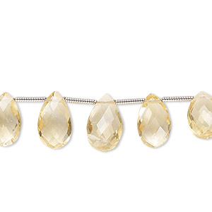 bead, citrine (heated), 8x5mm-12x9mm graduated hand-cut top-drilled faceted puffed teardrop, b grade, mohs hardness 7. sold per 19-piece set.