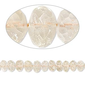 bead, citrine (heated), light, 5x2mm-6x5mm hand-cut faceted rondelle, b- grade, mohs hardness 7. sold per 14-inch strand.