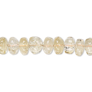 bead, citrine (heated), light, 8x3mm-10x6mm hand-cut rondelle, c grade, mohs hardness 7. sold per 13-inch strand.