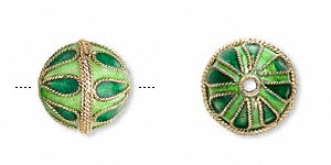 bead, cloisonne, enamel and gold-finished brass, light green and dark green, 12mm round with teardrop design. sold per pkg of 6.