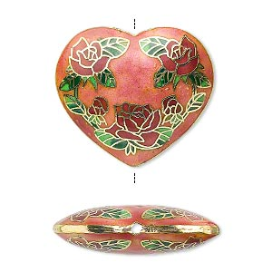 bead, cloisonne, enamel and gold-finished brass, pink and multicolored, 40x36mm double-sided heart with rose design. sold individually.