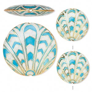 bead, cloisonne, enamel and gold-finished copper, blue and white, (2) 24mm and (1) 38mm puffed flat round with art deco design. sold per 3-piece set.