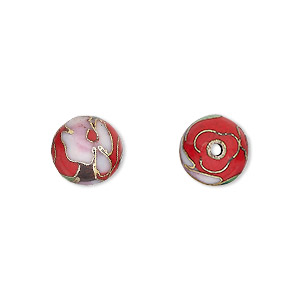 bead, cloisonne, enamel and gold-finished copper, red / pink / green, 10mm round with flower design. sold per pkg of 10.