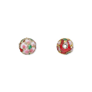 bead, cloisonne, enamel and gold-finished copper, red / pink / green, 8mm round with flower design. sold per pkg of 10.