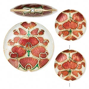 bead, cloisonne, enamel and gold-finished copper, red and white, (2) 24mm and (1) 38mm puffed flat round with leaf design. sold per 3-piece set.